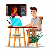 Photographer Retouching Photo Vector. Man Working With Graphic Software. Freelance Concept. Illustra poster