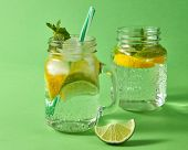 The slices of lemon and lime, cubes of ice, leaf of mint, sparkling cold water and plastic straw in  poster
