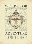 Vector Banner With A Ship Anchor And Ribbons With Words Nautical, Traveler. Illustration On The Them poster