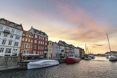 Copenhagen Sunrise City Skyline At Nyhavn Harbour, Copenhagen Denmark poster
