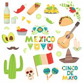 Mexican Traditional Food Tacos Nachos Vector Illustration. Cinco De Mayo Holiday Carnival And Flag S poster
