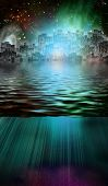 Fantasy City and Underwater Scene. 3D rendering poster