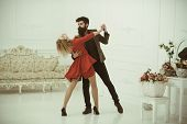 Relationship Concept. Sexy Woman And Handsome Man Develop Relationship In Dance. True Love And Relat poster