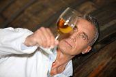 Man tasting wine