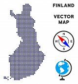 Pixelated Finland Map. Abstract Geographical Map. Dots Have Rhombus Form And Dark Blue Color. Vector poster