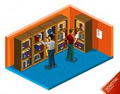Library Isometric Vector. Isometric Series. Build Your Own World with Isometric Works.