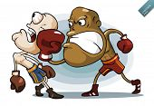 Boxing on Ring. Detailed cartoon vector series in isolated white.