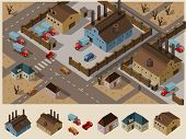 stock photo of earth structure  - Industrial Area Isometric - JPG