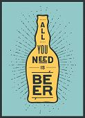 Beer. Poster Or Banner With Beer Bottle, Text To Beer Or Not To Beer And Vintage Sun Rays Sunburst.  poster