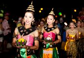 HUA HIN, THAILAND - NOVEMBER 21: Thai traditional dance. Thai people float on water a small rafts (K