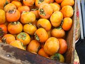 a crateful of persimmons