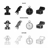 Pirate, Bandit, Hat, Bandage .pirates Set Collection Icons In Black, Monochrome, Outline Style Vecto poster