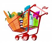 Illustration of groceries in shopping cart