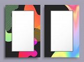Original Vertical Frames Stains And Pattern Set, Empty Frameworks With Creative Design, Blank Boxes  poster
