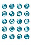 set of blue vector glass button icons part 2