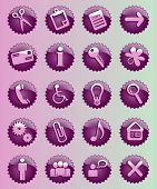 set of violet vector star glass button icons