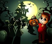 stock photo of hobgoblin  - vector halloween illustration with little witches and hobgoblin - JPG