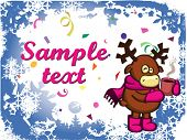 vector abstract christmas background with snowflakes and little cartoon deer