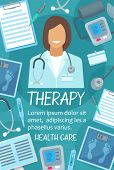 Medical Therapy Poster For Hospital Or Clinic. Vector Design Of Doctor Therapist With Stethoscope, M poster