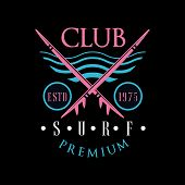 Surf Club Premium Logo Estd 1975, Design Element Can Be Used For Surfing Club, Shop, T Shirt Print,  poster