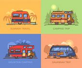 Set Of Auto Transport For Holiday Recreation Or Vacation. Van For Savannah Trip. Lorry, Truck For Mo poster