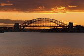 Golden Sunset Behind Sydney Harbor Bridge