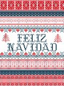 Feliz Navidad Nordic Style Vector Seamless Christmas  Patterns  Inspired By Scandinavian Christmas,  poster