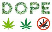 Dope Label Composition Of Hemp Leaves In Various Sizes And Green Tinges. Vector Flat Hemp Items Are  poster