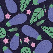 Eggplant Seamless Pattern. Ripe Eggplant With Leaves And Flowers On Shabby Background. Original Simp poster