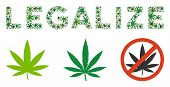 Legalize Caption Collage Of Hemp Leaves In Different Sizes And Green Tints. Vector Flat Hemp Leaves  poster