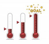 Vector Clipart Of Goal Thermometers At Different Levels poster