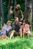 Unexpectable Danger. Man Brutal Thief Holds Knife Going Attack Hikers In Forest. Friends Relaxing An poster