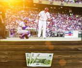 Euro Money Against The Background Of A Tv Showing Baseball, Sports Betting, Euro Money poster