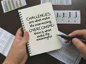 Motivational quote on challenges and overcome it poster