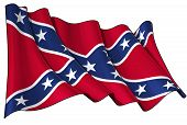 image of rebel flag  - Waving Confederate Rebel flag clean cut illustration - JPG
