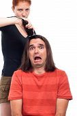 Shocked Long Haired Man And Hairdresser