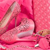 Beautiful wedding shoes and accessories in pink