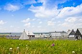 image of acadian  - A view of 17th century village rooftops behind a field of grass and wildflowers - JPG