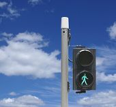 stock photo of traffic light  - Pedestrian traffic lights for safety across the street - JPG