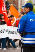 European Police Blue Uniform Back One Smile