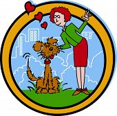 Dog Walker or Pet Sitter Cartoon Clip Art