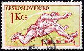 Postage stamp Czechoslovakia 1959 Hurdling, Olympic Sport