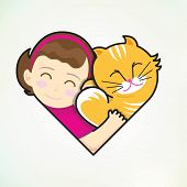 Girl and cat embrace love