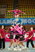MOSCOW - MAR 24:  Cheerleaders girl team performs acrobatics at Championship and Contests of Moscow