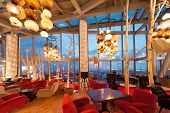 MOSCOW - AUG 30: A half-empty hall  restaurant Sixty with a beautiful view on the city on August 30,