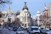 MADRID - MARCH 8: Edifisio Metropolis building, on March 8 2012 in Madrid, Spain. Tourist business -