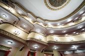 MOSCOW - APRIL 23: Bottom view of balconies in auditorium in Vakhtangov Theatre on April 23, 2012 in