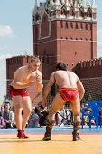 MOSCOW - MAY 26: The fighters are ready to Mongolian wrestling on VIII Forum Ready for Labor and Def