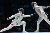 MOSCOW - APR 6: Women compete on championship of world in fencing among juniors and cadets, in Sport