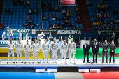 MOSCOW - APR 6: Presentation of competitors on championship of world in fencing among juniors and ca